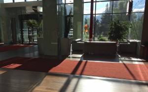 Sun-flooded lobby at Sibiu Ramada