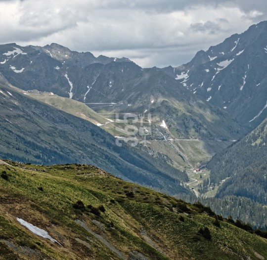 View on Transfagarasan alpine mountain pass road