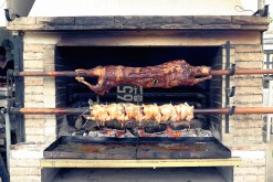 Rotisserie with skewed pork and chicken at Sunny Beach (BG) beach front