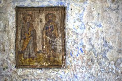 Wooden icon in cave church, Corbi, Arges, Romania
