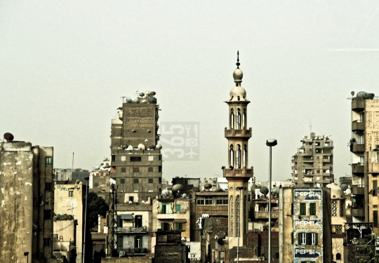 Minaret in a residential area