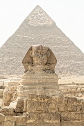 Sphinx on Chephren pyramid background, Gizeh, Cairo, Egypt, 2007