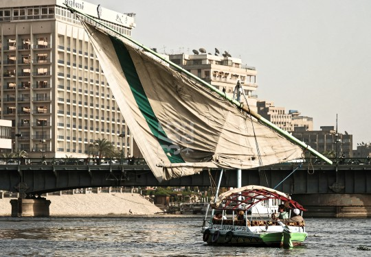 Traditional sailboat on Nile river